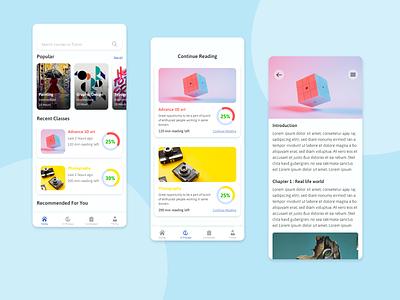 learning app cencept design typography design uiux ui design learning app xd design mobile ui