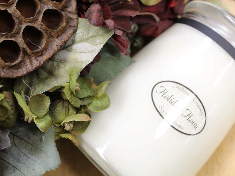 Holiday Home Candle - Milkhouse Creamery photo product branding brand photo commercial photography product styling photography design color