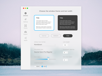Daily UI #007 - Settings text editor settings ux software osx interface minimal app dailyui ui design