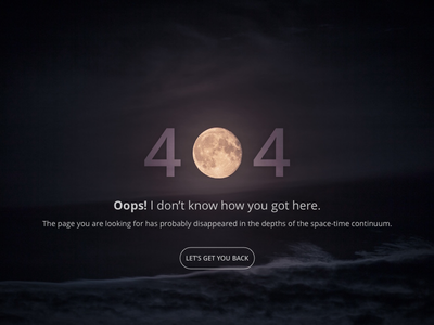 Daily UI #008 - 404 Page 404 page space ux error website 404 design ui dailyui web