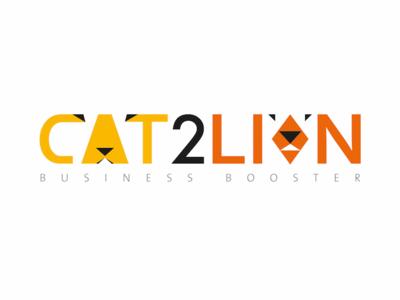 Logo Cat2Lion booster business design logo