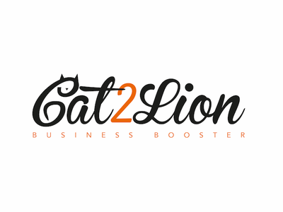 Logo Cat2Lion booster business design logo