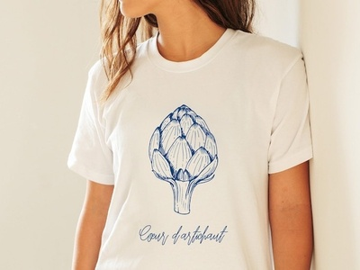 "T-shirt design ""Cœur d'artichaut"" artichoke clothing company clothing design clothing brand clothing illustration tshirt design tshirt"