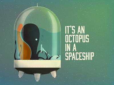 Octopus in a Spaceship octopus spaceship illustration fun simple