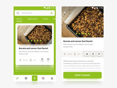 Cooking Recipes Android App simple hello fresh material design design green ui android recipes cooking