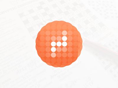 Crosswords App Icon dots connected circles crosswords mobilegame orange icon icondesign appdesign