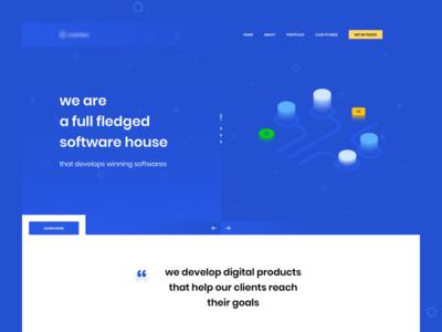 Software House Landing Page sleek design simple blue software house user interface landing page