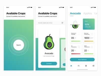 Hydroponics Crops Home Growing App green design smart food home crops visuals data ui growing plants ios