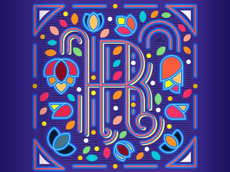 36 Days of Type // R flowers lines capital letters illustrator flat design letters lettering design vector illustration