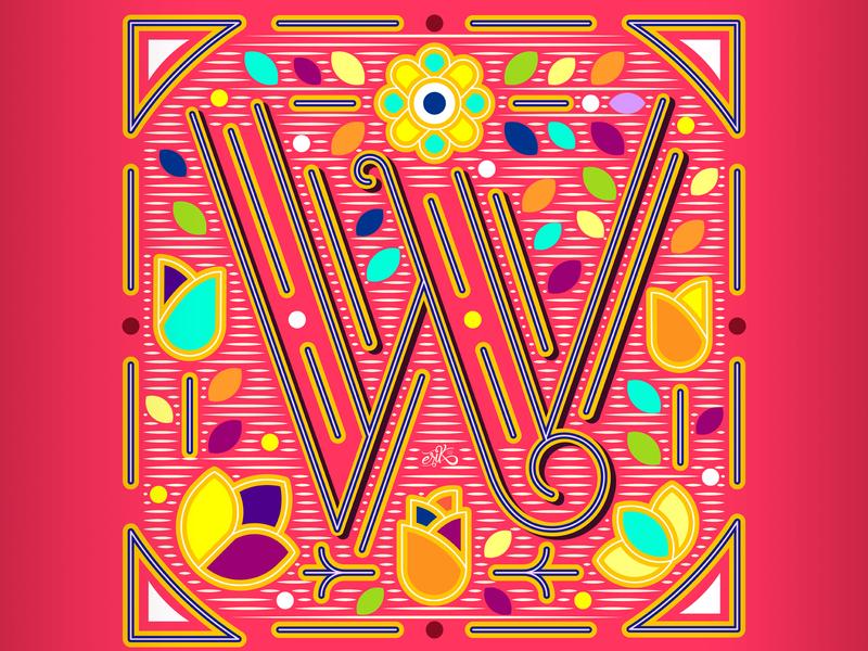 36 Days of Type // W mexico flat capital letters flatdesign illustrator lettering design vector illustration erikdgmx