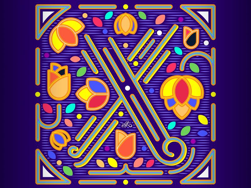 36 Days of Type // X flatdesign flat mexico capital letters lettering letters illustrator vector illustration erikdgmx