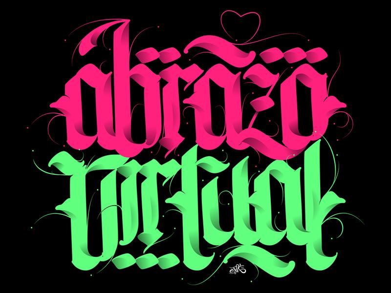 Virtual Hug // Abrazo Virtual type typography hug hand lettering fraktur letters calligraphy lettering vector erikdgmx