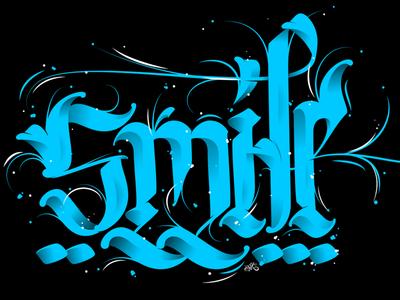 Smile typography fraktur style illustrator letters calligraffiti calligraphy lettering vector erikdgmx