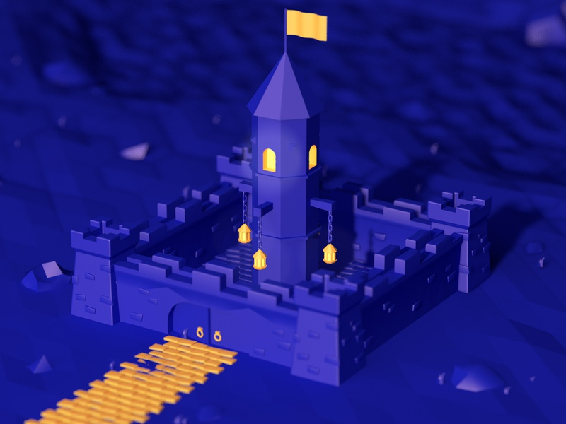 Blue Castle digital art isometric architecture cinema4d c4d lowpolyart low poly 3d illustration erikdgmx