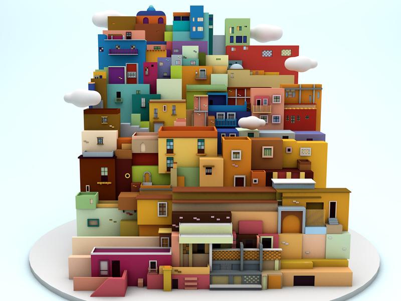 Guanajuato, Mexico 3d lowpolyart lowpoly lowpoly3d architecture landscape guanajuato city illustration erikdgmx