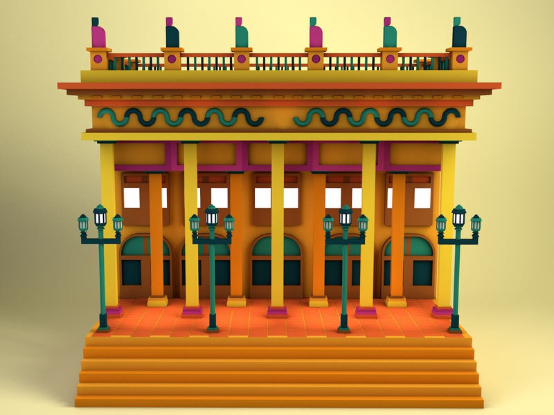 Teatro Juarez | Guanajuato, Mexico mexico architecture c4d lowpolyart low poly lowpoly 3d graphic design illustration erikdgmx