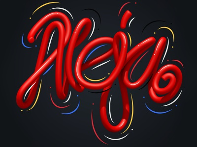 Aleja illustrator typography type 3d art 3d style letters lettering illustration erikdgmx