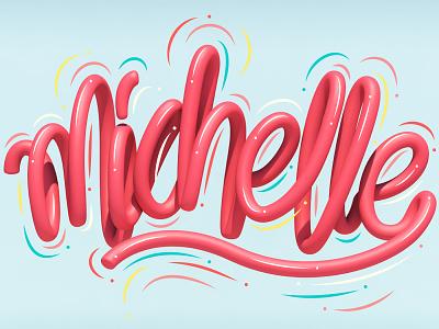 Michelle typography type cinema 4d 3d art 3d graphic design letters lettering illustration erikdgmx