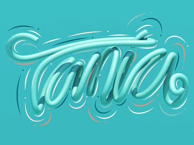 Tania graphic design typography type cinema 4d c4d 3d art 3d lettering illustration erikdgmx