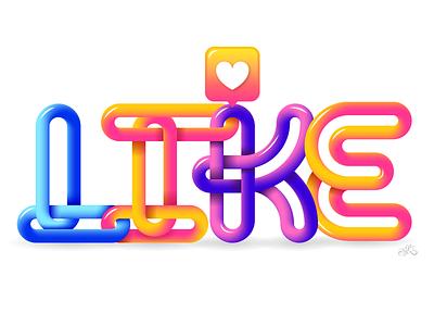 Like type design illustrator like typeface type typography lettering vector illustration erikdgmx