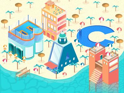 BEACH beach vector art isometric illustration isometric design isometric isometry landscape illustrator illustration erikdgmx