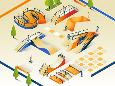 SKATE PARK isometrico vectores vectorart landscape letters lettering illustrator skate isometry isometric vector illustration erikdgmx