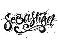 Sebastian lettering tattoo