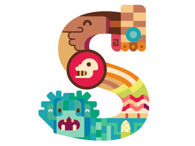 S Capital letter // Prehispanic design prehispanic mexico typography lettering erikdgmx illustration