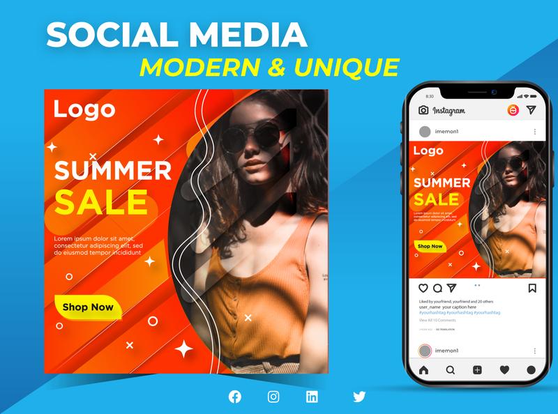 Summer Sale Instagram Post Design landing page design product design brand brand design vector instagram banner instagram post banner ad social media design web banner illustration