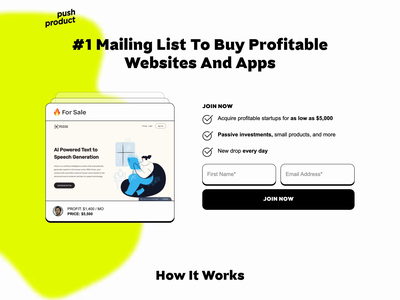 Animated Mailing List Landing Page 90s micro animation single page two tone duotone no code webflow animation motion graphics webflow millennial checklist simple landing lava lamp animated blob blob highlighter gen z mailing list landing page animated background
