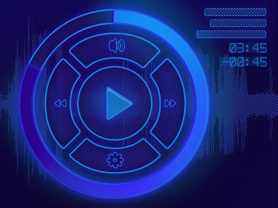 Music player widget glow button rebound player