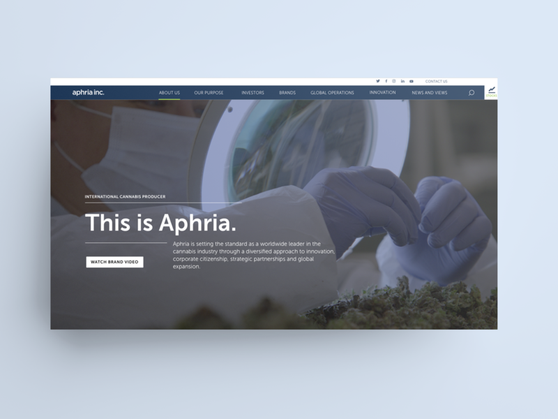Aphria Investor Website Landing Page sketch cannabis website web design ux ui