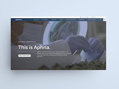 Aphria Investor Website Landing Page sketch cannabis website web design ux ui