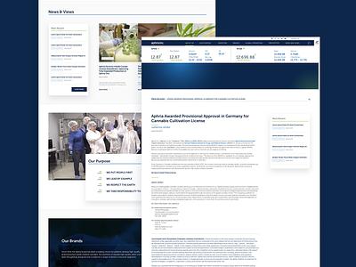 Aphria Investor Website sketch web design cannabis website ux ui