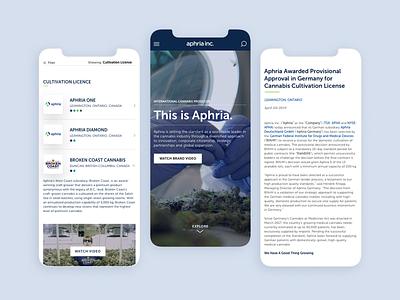 Aphria Investor Website Mobile website sketch cannabis web design ux ui