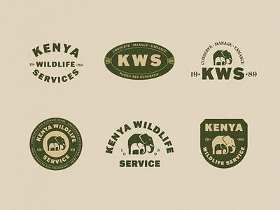 Kenya Wildlife Service Logo Badges african kenya safari adventure illustrator typography badge logo branding