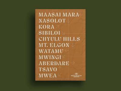 Kenya Wildlife Service Poster print poster design typography africa safari kenya adventure branding
