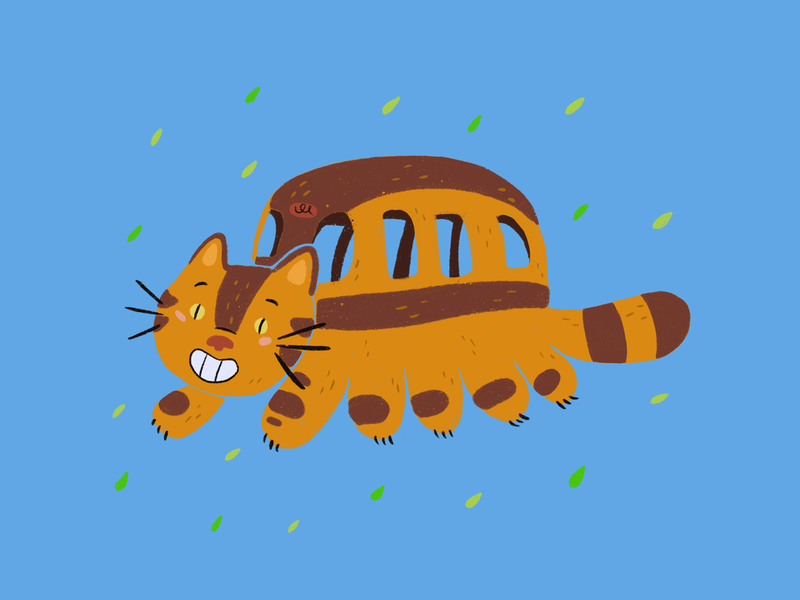 Catbus - My Neighbor Totoro blue cute studio ghibli my neighbor totoro movie digital illustration digitalart procreate ipadpro illustration characterdesign animation