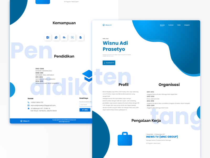 Wisnu Curriculum Vitae Page javascript css html bootstrap front end developer landing page design web design ux ui