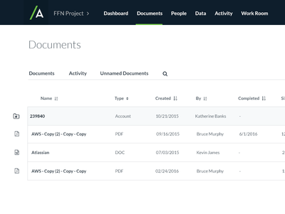 Manage documents screen layout table documents ux ui product