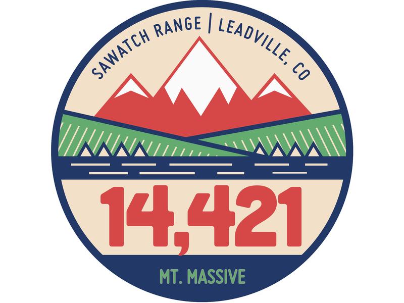 Mt. Massive badge branding vector logo sawatch leadville colorado mt massive 14ers 14er 14 massive