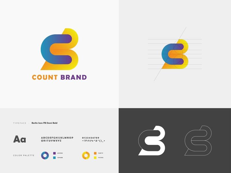 Count Brand  - C & B letter modern  logo design logo trends 2020 gradient abstract logo alphabet app concept count brand logo mordern logo b letter logo c letter logo typography ui vector ux icon minimal design web logo branding