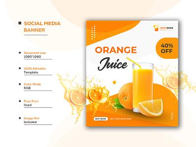 Fresh juice social media promotion post banner template juice banner background juice background juice vector orange background design juice banner design fruit juice shop banner orange vector