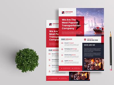 Delivery and Transport Service company Flyer transport agency flyer minimal design branding vehicle
