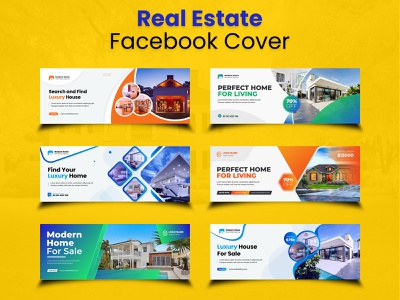 Real estate facebook cover and web ad banners construction
