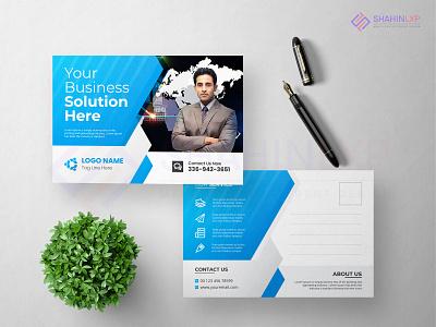 Creative Corporate Postcard design template. professional