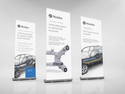 Metalsa rollup design branding identity design art mexico frames cars rollup brand design