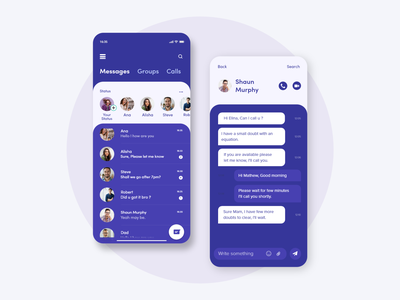 Chat app mobile app call chat app design design inspirational creative chat app ui