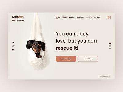 DogDen Dribble animals shelter dogrescure dog interaction ux uiux ui webdesign