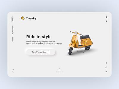 Vespa Joy motorcycle carrental car vespa neumorphic design neumorphism neumorphic illustration interaction web webdesign ux ui